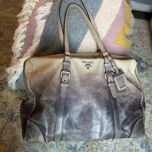 😍 Vintage PRADA Glace Leather Ombre Tote Bag